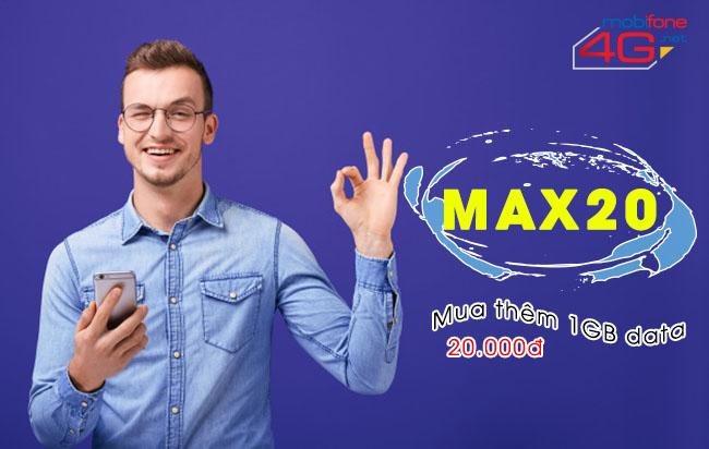 cách đăng ký gói cước  MAX20 Mobifone chỉ 20.000VNĐ.