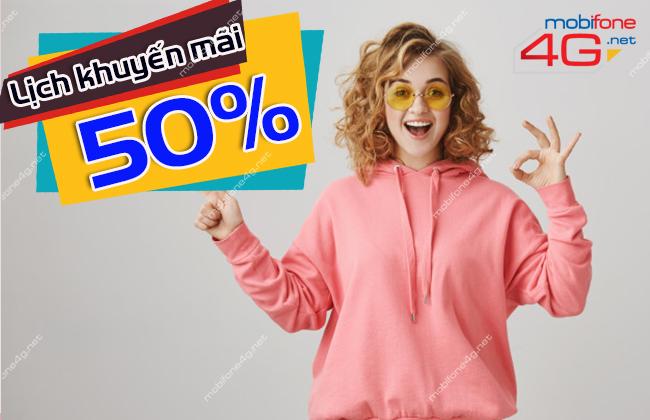 CÁC NGÀY KHUYẾN MÃI NẠP THẺ TẶNG 50% MOBIFONE THÁNG 5/2021